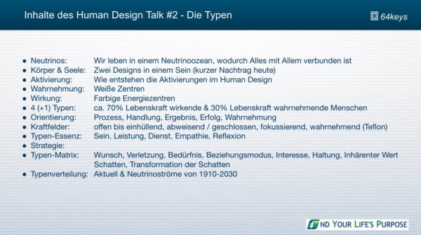 Die 5 Human Design Typen - Inhaltsangabe